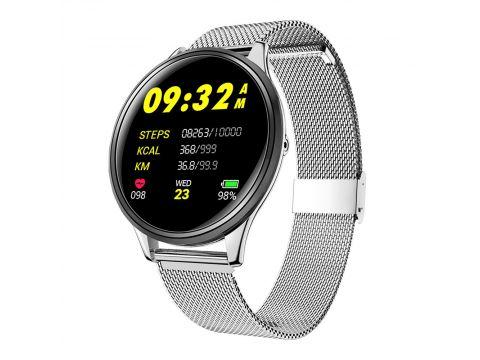 Смарт-часы фитнес браслет Lemfo SN58 с ультратонким корпусом Серебристый