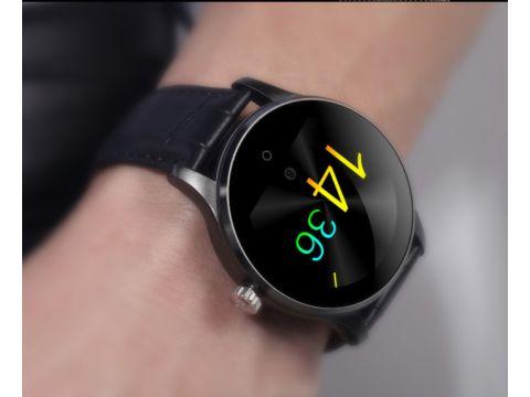 Умные часы Lemfo K88H leather с кожаным ремешком Черный
