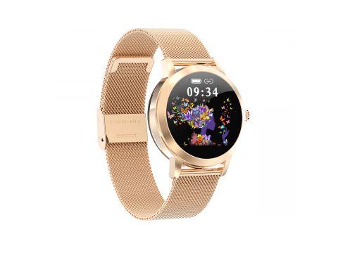 Умные часы Linwear LW10 Metal с пульсометром и мониторингом сна Золотой