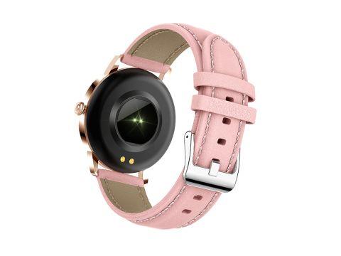 Умные смарт часы Lemfo CF18 Pro Leather с измерением давления и пульса Розовый