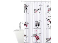 Штора для ванной комнаты Tatkraft 180 х 180 см Веселые Коты (14664)