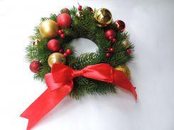 Новогодний рождественский венок с шарами №7 26 см Зеленый (9590037IK)