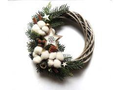 Новогодний рождественский венок с натуральным декором 27 см Зеленый (9590039IK)