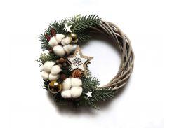Новогодний рождественский венок с натуральным декором №1 27 см Зеленый (9590041IK)