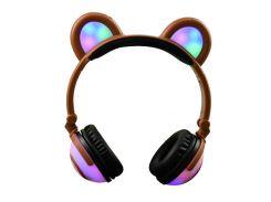 Наушники LINX Bear Ear Headphone с медвежьими ушками LED подсветка 350 mAh Коричневый (SUN1863)
