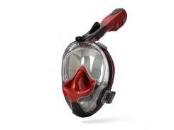 Маска для сноркелінгу TheNice EasyBreath-III M2101 на все обличчя для дайвінгу S/M Червоно-чорний (SUN2780)