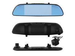 Автомобильный видеорегистратор-зеркало AKLINE 701 с двумя камерами 7 1080P Full HD Черный (KD-5925S1176)