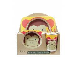 Набор детской бамбуковой посуды Eco Bamboo Fibre Kids Мавпочка 5 предметов (200668)