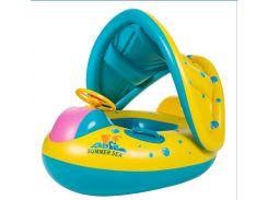 Детская надувная лодка-круг UrbanKit с Регулируемым Накрытием Жёлтый с голубым (UD5464)