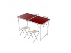 Стол-Чемодан для пикника 4 стульчика PWR Folding Table 120 х 60cm Коричневый (0317)