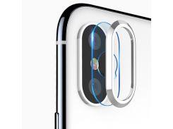 Защитная накладка Grand вокруг камеры и защитное стекло для iPhone X/10/XS White (6062)