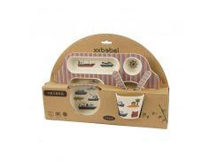 Набор детской посуды из бамбукового волокна с сюжетом, 5 шт, Морской сюжет