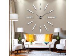 Настенные 3D часы 4212 Серебристые для дома большие самоклеющиеся (16-4212-1)