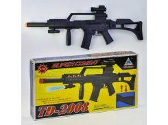 Автомат игрушечный с лазером и фонарем Звуковые эффекты Черный (2-2008-71907)