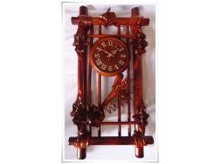 Часы Гранд Презент Вертикальная рамка Кожа и бамбук (ЧК16)