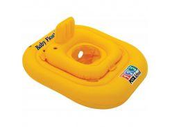 Надувной круг-плотик Intex 56587 с отверстиями для ног и спинкой Желтый