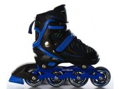 Детские роликовые коньки Profi A 12092-M-Ч 34-37 Черные с синим (int_A 12092-M-Ч)