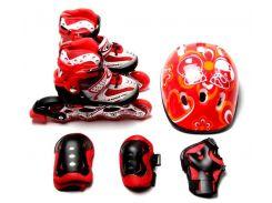 Комплект ролики шлем и защита для коленей Happy Red размер 29-33 (hub_xzuL41385)