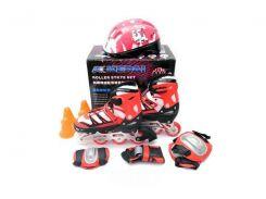 Набор роликовые коньки Kepai со шлемом и защитой 34-37 Красные (2038-04)