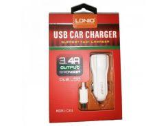 Автомобильное зарядное устройство LDNIO C331 + Micro USB Cable (2USB 3.4A) White (VN-0056)