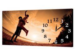 Настенные часы ProfART на холсте 30 x 53 см Пара на закате (10_S)