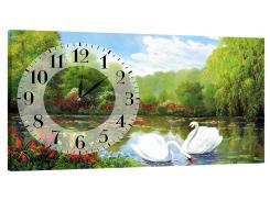 Настенные часы на холсте DK Store Лебеди на пруду K-106 (hub_xVRy44351)