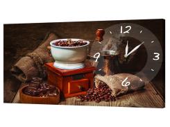 Настенные часы на холсте Декор Карпаты O-721 Кофейные Зерна (iatM51362)
