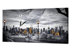 Настенные часы ProfART на холсте 30 x 53 см Город (fyaB62423)