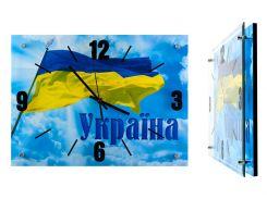 Часы настенные Montre Украина Флаг на фоне неба 28x38 см Стекло Тихий ход (18132)