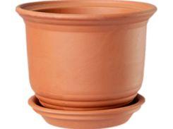 Горшок для растения ТЕРРА Рельефный 10 х 10 см 0.6 л Коричневый (000001396)