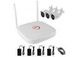 Комплект беспроводного WiFi видеонаблюдения на 3 камеры 1 Мп на 300 метров LONGSE WIFI2004PG1S100-3