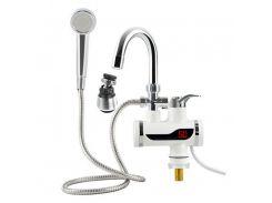 Кран-водонагреватель проточный Delimano c LCD-дисплеем и душем 3 кВт Белый (27000-nri)