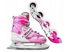 Роликовые коньки SportVida 4 в 1 SV-LG0018 Size 39-42 (Pink SV-LG0018)