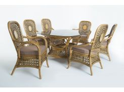 Обеденный комплект стол + 6 кресел Cruzo Ацтека из натурального ротанга Светло-коричневый (ok0028)