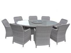 Обеденный комплект Cruzo Сейм (стол +8 кресел) искусственный ротанг Серый (ok9578)