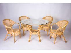 Обеденный комплект Cruzo Гурзуф (стол +4 кресла) натуральный ротанг Медовый (ok84753)