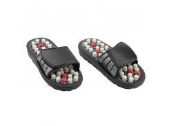 Массажные рефлекторные тапочки для ступней размер XL разминающий массаж Черный (46-891712018)