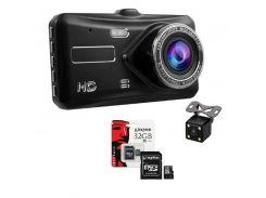 Видеорегистратор DL600 Full HD с камерой заднего вида и сенсорным экраном + карта памяти 32гб