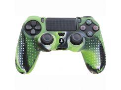 Силиконовый чехол Juchen Electronics Rubber Skin на контроллер DualShock для Sony PlayStation 4 Зеленый камуфляж (JU551)