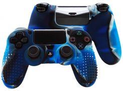 Силиконовый чехол Juchen Electronics Rubber Skin на контроллер DualShock для Sony PlayStation 4 Синий камуфляж (JU549)
