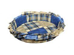 Лежак для домашних животных с рюшей Мур-Мяу №2 Синий (hub_ovyp39693)