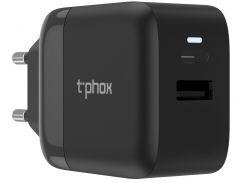Сетевое зарядное устройство T-PHOX Coco 1xTYPE-C PD 18W + 1xUSB QC3.0 Black (6465741)