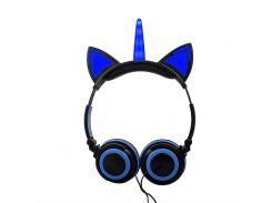 Навушники LINX Unicorn Ear Headphone з вушками Єдиноріг LED Синій (3000)