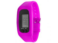 Часы Lesko LED SKL Pink электронный дисплей диагональ 1 дюйм силиконовый ремешок шагомер счетчик времени (2827-7573)