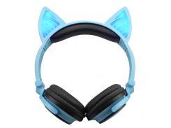 Bluetooth наушники LINX BL108A с кошачьими ушками LED Синие (SUN0481)