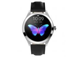 Смарт-часы KingWear KW10 с тонометром и кожаным ремешком Серебристый (93987)