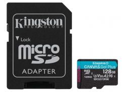 Карта памяти Kingston microSDXC 128GB Canvas Go+ U3 V30 (SDCG3/128GB) + Адаптер (6552770)