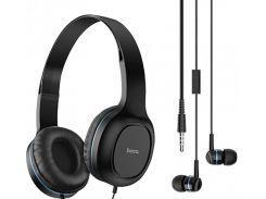 Наушники проводные набор 2-в-1 Hoco Enlighten W24 Black/Blue