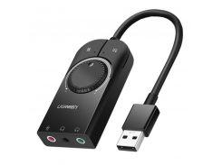 Внешняя звуковая карта Ugreen USB 2.0 c регулятором громкости CM129 (Черная, 15см)