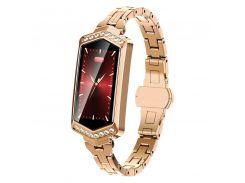 Умные часы фитнес браслет Finow B78 с цветным дисплеем и тонометром Золотой